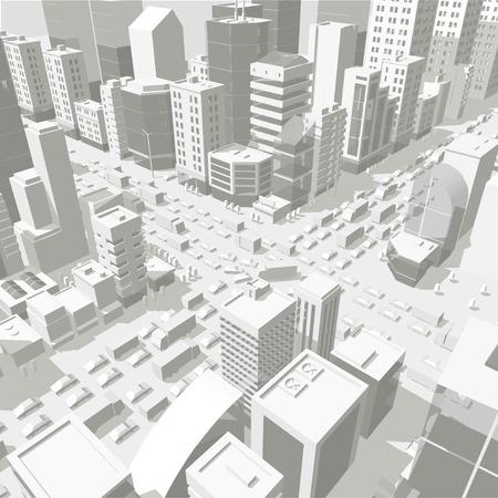 3d stadsgebouwen achtergrond straat In lichtgrijze tinten. Kruispunt van de weg. Stadsprojectie met hoog detail. Auto's eindigen gebouwen bovenaanzicht. Vector illustratie voorraad clipart. Vector Illustratie