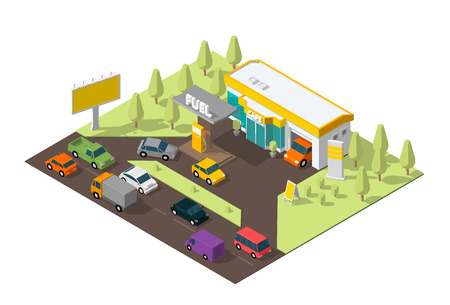 Gas station. Refilling, road shop, repair service. Petroleum filling station and cars. Petrol fuel tank, gasoline. Colorful vector isometric view. Infographic low poly.