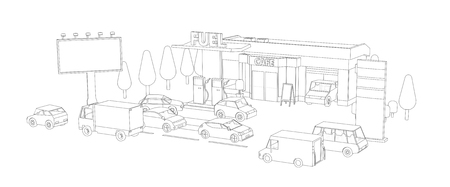Filling station. Refilling fuel, motorway road shop, repair service. Petroleum gas station and cars. Petrol tank, gasoline. Gray lines outline contour style. Vector view.