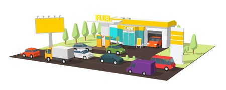 Filling station. Refilling fuel, motorway road shop, repair service. Petroleum gas station and cars. Petrol tank, gasoline. Colorful vector.