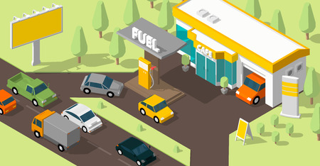 Filling station banner. Refilling fuel, road shop, repair service. Petroleum gas station and cars. Petrol tank, gasoline. Colorful vector isometric view. Infographic low poly.