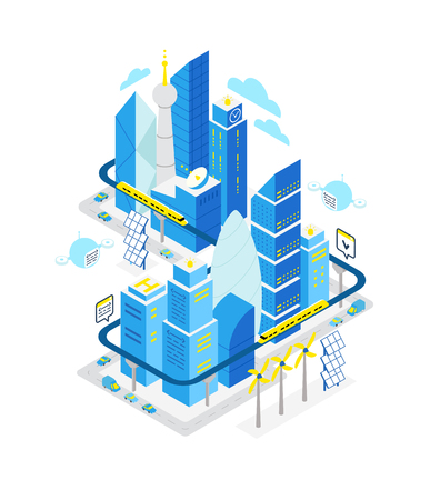 Smart city data center isometric building. Hosting server technology automation with networking. IoT future technology. Traffic and internet of things vector concept. Blue color high detailed illustration.
