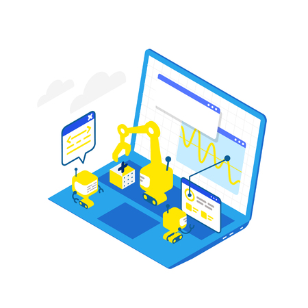Software development levels. Technological conveyor. Programming and testing robots laptop. Isometric infographic. Blue colors concept. High detailed vector illustration. Vettoriali
