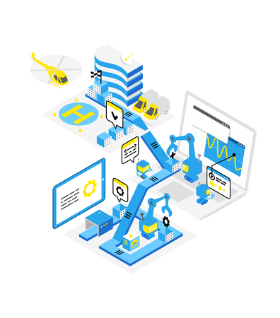 Software development levels. Technological conveyor. Programming and testing robots laptop. Isometric infographic. Blue color concept. Иллюстрация