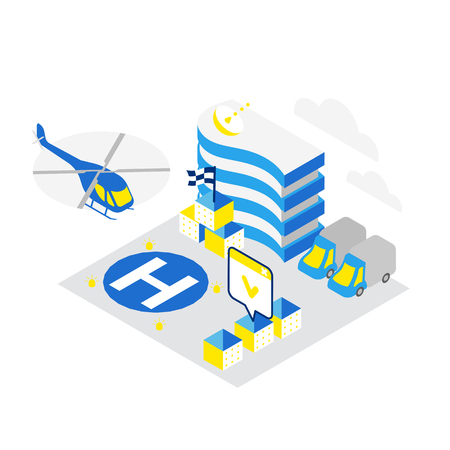 Smart city. Helicopter helipad data infrastructure isometric concept technology. Internet cloud storage heliport. Hosting server networking. IoT future technology. High detailed vector illustration. Blue and yellow colors. Illustration