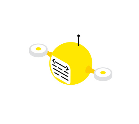 Yellow drone robot programmer monitors the system drivers diagnostics. Information spy. Icon vector logo technology.