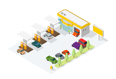 Filling station parking. Refilling fuel, road shop, repair service. Petroleum gas station and cars. Petrol tank, gasoline. Colorful vector isometric view. Infographic low poly.