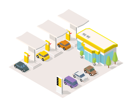 Filling station parking. Refilling fuel, road shop, repair service. Petroleum gas station and cars. Petrol tank, gasoline. Colorful vector isometric view.