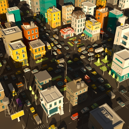 Cartoon city town district. Street Intersection road 3d. Very high detail. Cars end buildings top view. Evening shade.