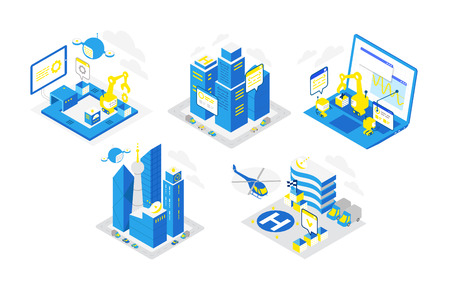 Icon set for software development. Programming testing robots, helicopter and drones. Isometric infographic. Blue colors. Smart city server infrastructure. Technological conveyor vector illustration.