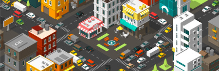 Vector isometric city horizontal banner. Cartoon town district. Street Intersection road 3d. Very high detail projection. A lot of cars end buildings top view. Vector illustration stock clipart.