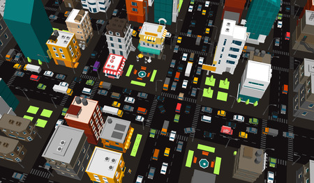 Vector city. Town district. Street Intersection road traffic 3d. Very high detail projection. A lot of cars end buildings top view. Vector illustration stock clipart. Stock Illustratie