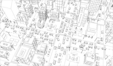 Contour de l'intersection des rues de la ville. Vue de dessus des bâtiments et du trafic routier. Lignes grises contour contour arrière-plan de style silhouette. Ville très détaillée. Illustration vectorielle stock clipart. Vecteurs