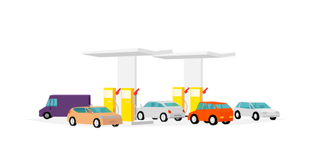 The queue of cars at the gas station. Filling station. Refilling fuel service. Petroleum gas station and cars. Petrol gasoline. Colorful vector illustration.
