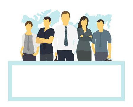 Business team and frame place for text. Company business group people of office clerks. With his leader boss. Template flat color vector illustration. Transparent white background.