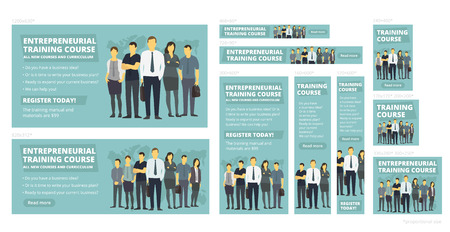 Entrepreneurial training course. Vector set of web banners. New education courses. Company business group people. Standard sizes for advertising background. Place for text.