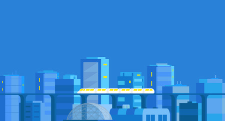 City twilight landscape banner. Modern architecture, buildings, skyscrapers. Train crossing the light rail subway railway. Evening or night. Flat vector illustration. Blue background