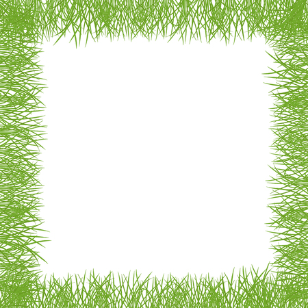 Green grass Square frame lawn banner. Border frame isolated transparent background. On white background. Ecology purity and nature. Vector flat style colorful illustration. Ilustrace