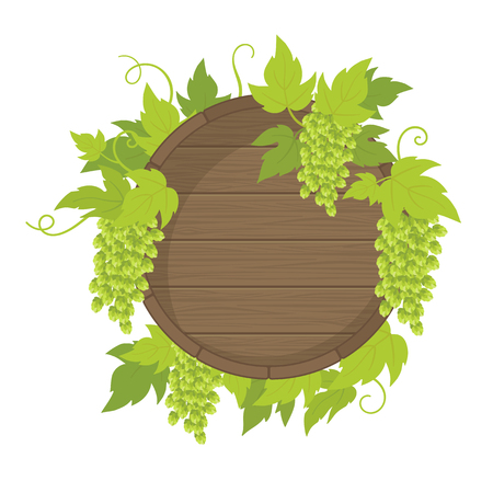 Barrel hop plant frame. Wooden barrel of beer. Place for text. Hop green leaves and cones. Vector flat Illustration for pub bar, beer shop or cafe advertising. lupulus humulus brewing. Isolated transparent background.