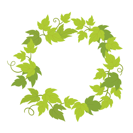Grapevines plant frame circle banner. Round border grape frame. Place for text name or logo. Grapes green leaves. Vector flat Illustration. Logo
