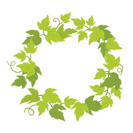 Weinreben Pflanzenrahmen Kreis Banner. Runder Rahmen mit Trauben. Platz für Textnamen oder Logo. Trauben grüne Blätter. Vektor-flache Illustration. Logo