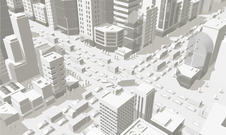 3d city buildings background street In light gray tones. Road Intersection. High detail city projection view. Cars end buildings top view. Vector illustration. Horizontal rectangular banner format stock clipart. Banque d'images - 124063402
