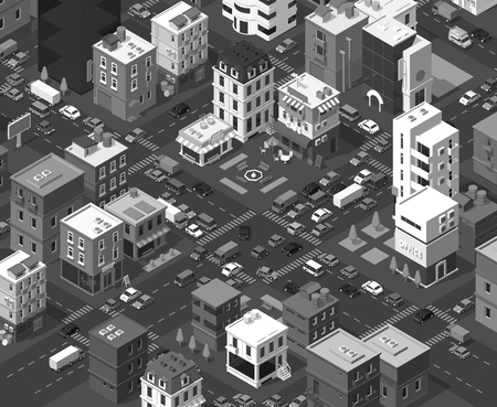 Vector isometric city. Black and white town district. Street Intersection road 3d. Very high detail monochromatic. Residential quarter. Cars end buildings top view square section. Vector illustration stock clipart.