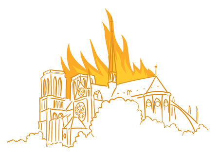 Notre-Dame de Paris fire. Broke out in the roof of Notre Dame Cathedral. Tragic news from France. On 15 April 2019. View of the spire. Vector Illustration.