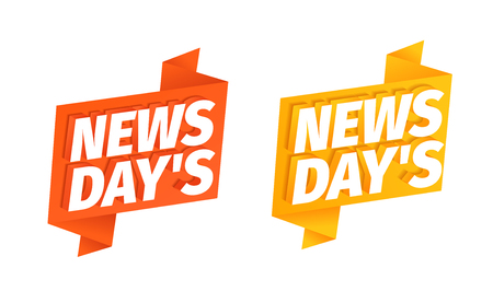 News days headline word on red and yellow ribbon. 3d letters. Fresh news of the day. Advertising promotion headline title. Vector color Illustration text clipart.