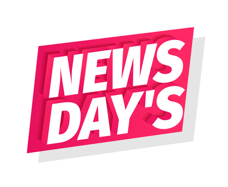 News days headline word on red flag. 3d letters. Fresh news of the day. Advertising promotion headline title. Vector color Illustration text clipart. Ilustração