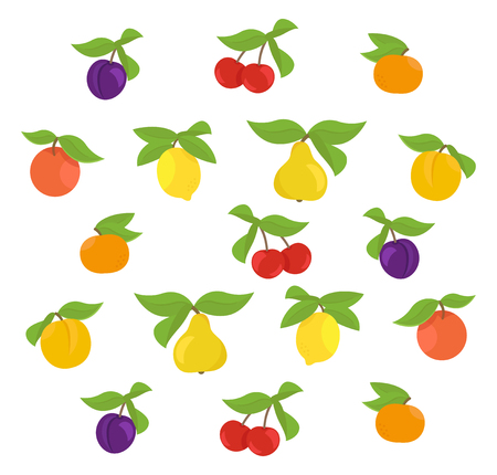 Fruits set background. Apple, peach and lemon mandarin pear. Cherry and plum. Vector illustration. Fruit plant clipart. Multicolored with leaves.