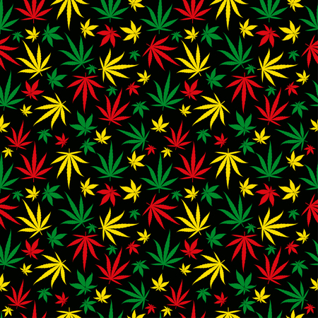 Rasta pattern. Reggae colour ornament. Marijuana seamless background. Rastafarian cannabis hemp template fill. Vector flat Illustration. Square stock clipart. Illustration