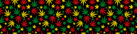 Rasta rectangular banner pattern seamless background. Reggae jamaican ornament. Marijuana leaf. Rastafarian cannabis hemp template fill. Square vector Illustration. Stock clipart. Çizim
