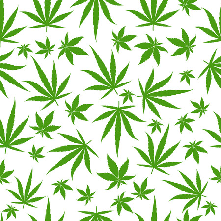 Marijuana green leaves on a white background. Rasta seamless pattern. Rastafarian cannabis hemp template fill. Vector flat Illustration. Square stock clipart.