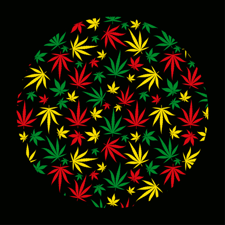Round rasta pattern background. Circle reggae jamaican ornament. Marijuana leaf. Rastafarian cannabis hemp template fill. Square vector Illustration. Stock clipart.