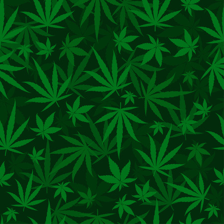 Marijuana green leaves on a deep dark green background. Rasta seamless repeat pattern. Cannabis hemp template fill. Vector flat Illustration. Square stock clipart. Ilustrace