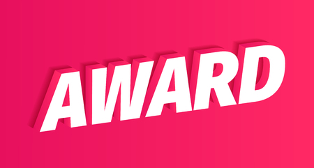 Award 3D white word on red background. Winner pink award text title. Vector color Illustration headline clipart. 向量圖像
