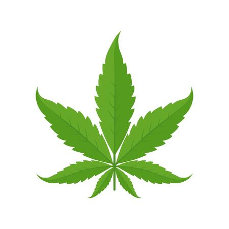 Marijuana leaf. Icon or logo. Green on a white background. Hemp plant. Cannabis indica. Isolated vector illustration. Medical cannabis.