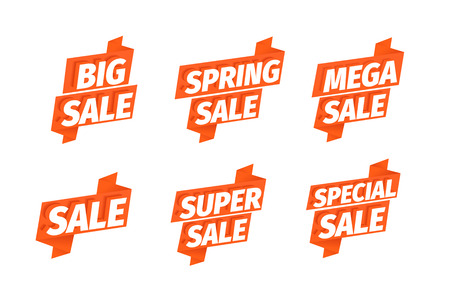 Sale offers red ribbon sticker set. Advertising promotion poster. Mega super spring. 3d letters. Special slogan, super call for purchases. Vector color Illustration text marketing clipart.