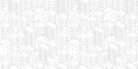 Modèle de ville sans couture. Bâtiments toits fond clair blanc. Vue de dessus isométrique. Stock d'illustration vectorielle. Les lignes grises décrivent les cliparts de style de contour. Vecteurs