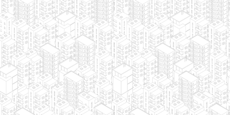 Seamless city pattern. Buildings roofs white light background. Isometric top view. Vector illustration stock. Gray lines outline contour style clipart. Illustration
