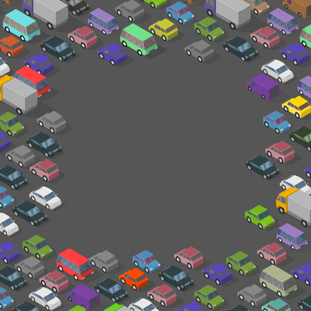 Isometric traffic cars frame. Copy space for text place. Transport road background. Top view of the street and cars. Vector illustration stock clipart.