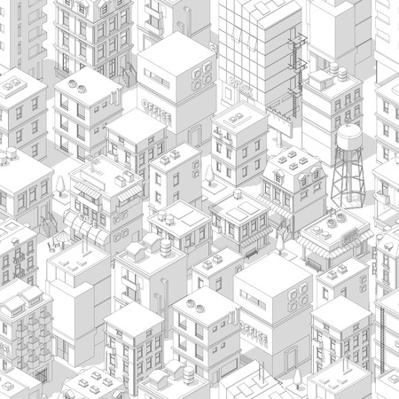 Buildings city seamless pattern. Isometric top view. Vector town city street outline with shadows. Gray lines contour style background. Highly detailed. Vector illustration stock clipart. Ilustrace