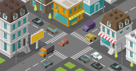 Isometric city. Town district street. Advertising billboard on the road Intersection. High detail city rectangular projection view. Cars end buildings top view. Vector illustration stock clipart. 일러스트