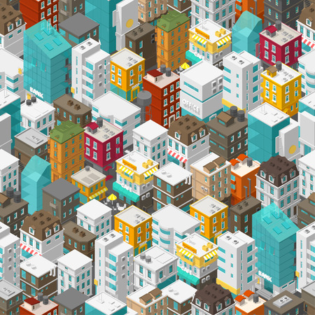 Buildings city seamless pattern. Isometric top view. Vector town city street. Multi-colored style background. Highly detailed. Vector illustration stock clipart. Vectores