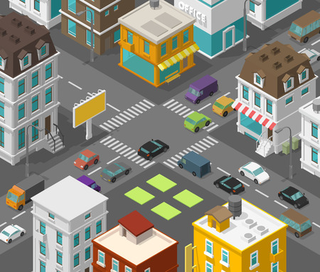 Isometric city. Town district street. Advertising billboard on the road crosswalk Intersection. High detail city projection view. Cars end buildings top view. Vector illustration stock clipart.