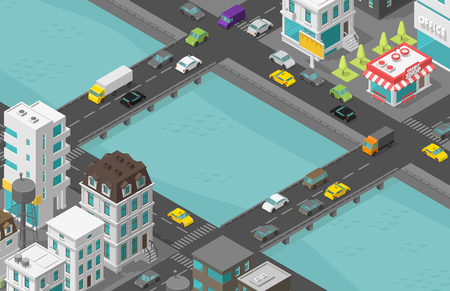 Bridge over river Isometric city. Two bridges. Town houses district street. Cars end buildings. Cityscape infrastructure. Urban low poly. Vector stock clipart illustration.