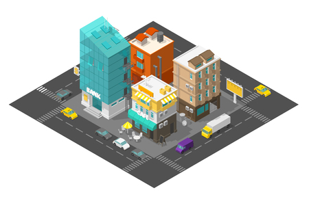 City street cafe and bank. Town district quarter Isometric road 3d. Cars end buildings top view. Vector illustration stock clipart. Illustration