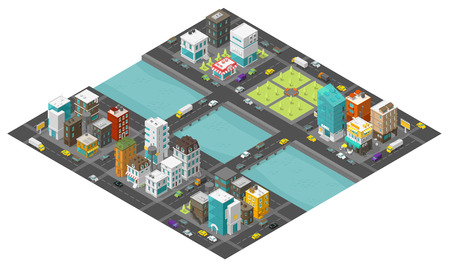Isometric big city and bridge over river. Two bridges. Town district street. Cars traffic end buildings. Cityscape infrastructure. Urban low poly. Vector stock clipart illustration. Vector Illustratie
