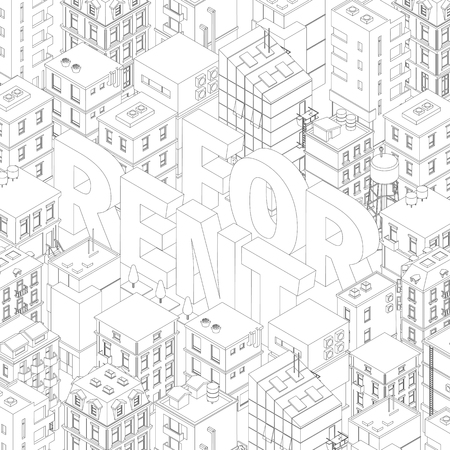 For rent. Words in city buildings background. Isometric top view. Gray lines outline contour style. Background real estate. Vector illustration clipart.
